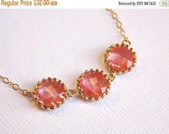 SALE Coral Necklace, Gold Filled, Peach, Grapefruit Pendant, Wedding Jewelry, Bridesmaid Jewelry, Gold Filled, Bridal Jewelry, Bridesmaid Gi