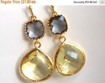 SALE Yellow Earrings, Gray Earrings, Glass Earrings, Lemon, Grey, Gold Earrings, Bridesmaid Earrings, Bridal Earrings Jewelry, Bridesmaid Gi