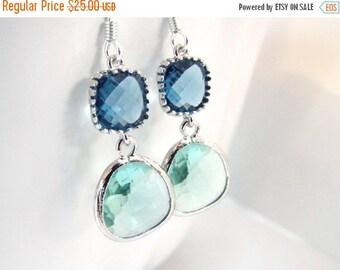 SALE Green Earrings, Blue Earrings, Aqua Glass Earrings, Silver Earrings, Wedding, Bridesmaid Earrings, Bridal Earrings Jewelry, Bridesmaid