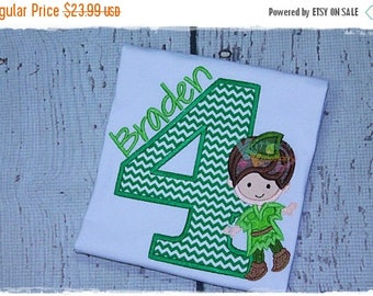 SALE Custom Peter Pan Inspired - Boy Fairy - Birthday Embroidered Applique Shirt