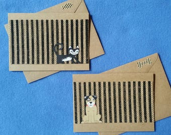 Dog or Cat Handmade Greeting Card, striped burlap and recycled kraft paper - googly eyes, dog card, cat card, blank card