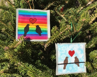 Ornament, Love Birds ornament, handmade sewn fabric ornament, 4x4 inches, hangs on satin ribbon, your choice of Snowy Day or Rainbow