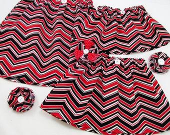 Game Day Skirt or Dress - Baby Infant Toddler Girls Ladies Plus - Red White & Black - University of Nebraska - Texas Tech - Arkansas State