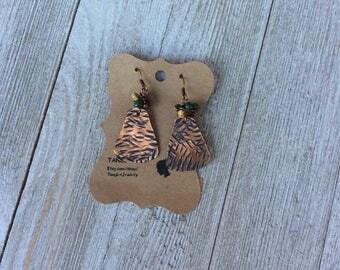 Patina Earrings, Rustic earrings, Boho Earrings