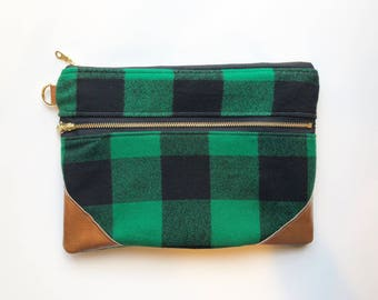 Green and black buffalo plaid double zippered clutch
