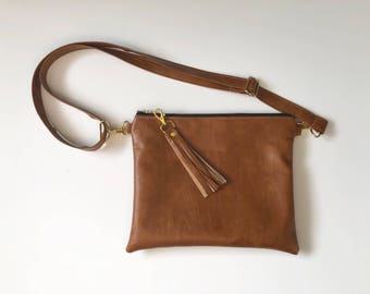 Brown cognac faux leathwr hipster with plaid interior - crossbody purse