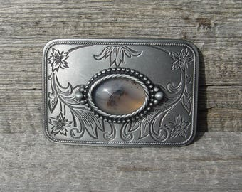 Montana Agate Cabochon Western Style Belt Buckle