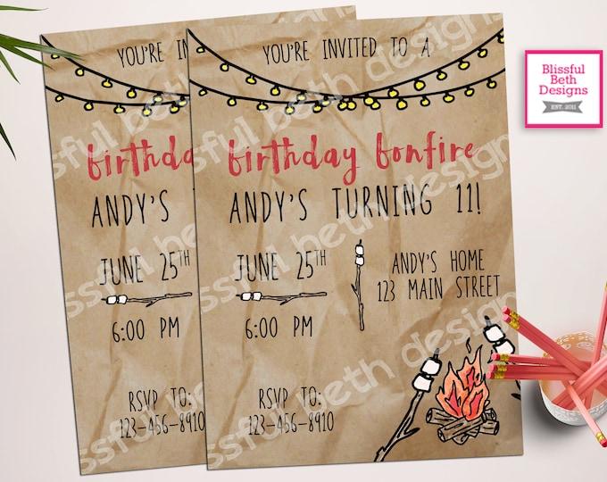 BIRTHDAY BONFIRE INVITATION, Birthday Bonfire, Bonfire Invitation, Birthday Invitation, Camping Birthday, Camping Invitation, Bonfire