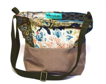 Vegan Crossbody Bag - Mocha and Floral Linen, Tweeds