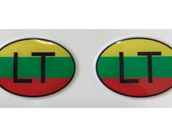 "Lithuania LT Domed Gel (2x) Stickers 0.8"" x 1.2"" for Laptop Tablet Book Fridge Guitar Motorcycle Helmet ToolBox Door PC Smartphone"