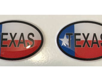"Texas Domed Gel (2x) Stickers 0.8"" x 1.2"" for Laptop Tablet Book Fridge Guitar Motorcycle Helmet ToolBox Door PC Smartphone"