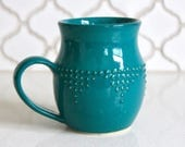 Extra Large Handmade Mug in Dark Teal - Geometric Dot Design - Hand Thrown 16 oz. - READY TO SHIP