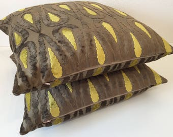Mocha brown pillow SQAURE paisley pillow CHARTREUSE chenille cushion cover Dark mocha pillow Putty lime velvet pillow Osborne and Little