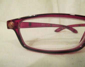 Reading glasses, hand painted Red & Gold Pizzaz +1.75, stylish readers, glitter, bling readers, red frames, tradition