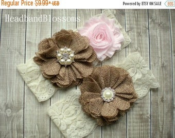 SALE PALE PINK Bridal Garter Set - Ivory Keepsake & Toss Wedding Garters - Burlap Flower Pearl Lace Garters - Country Wedding - Rustic Weddi