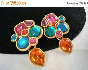 Now On Sale Vintage Carlisle Rhinestone Earrings, 1970's 1980's Playful Colorful Rainbow Chunky Dangle Signed Rare Earrings