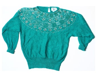 Vintage 80s 90s Cervello Emerald Green Beaded Jumper UK 10 US 8