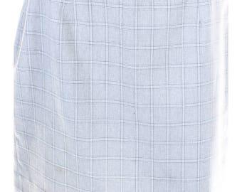 Vintage 80s Dignity Light Grey Checked Back Split Pencil Mini Skirt UK 10 12 US 8 10