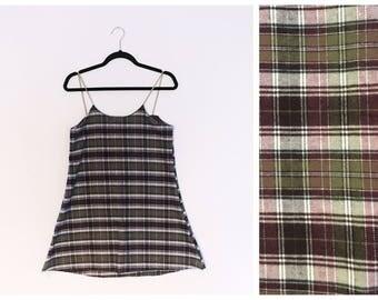 Olive Plum Plaid Flannel Grunge Cami Dress Small XS
