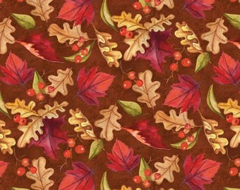 12% off thru July THANKFUL HARVEST~gold red leaves berries on  brown by the  yard Wilmington fabric-33789-335