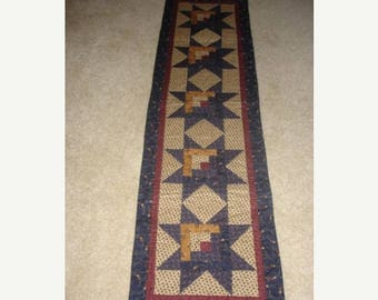 20 % off thru 8/20 Instructions only LOG CABIN STAR table runner pattern - pieced quilted