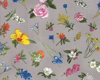 20 % off thru 11/30 STATE FLOWERSCAPES- tossed state flowers on grey, 47001-13 by the yard