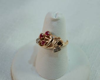 14kt Gold Ruby Bouquet and Diamond Accent Ring