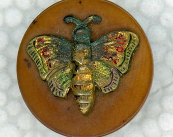 Vegetable Ivory Picture Button ~ Colored Brass Butterfly Escutcheon ~ 3/4 inch 19mm ~ Tagua Nut Sewing Button ~ Grammys Buttons