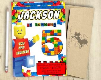 Lego Invitation Lego Birthday Party Lego Theme Invitation PRINTABLE Personalized Customized Lego Man Invitation