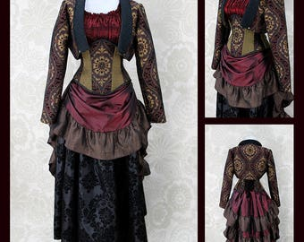 Full Victorian Steampunk Ensemble - 5 pc Set - Black, Burgundy, Gold, & Brown - Custom Made in Your Size, Choose Your Corset Style