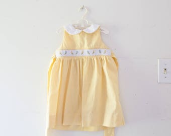 Vintage Toddler Dress Vintage White Yellow Smocked Floral Dress Size 18 Months Cradle Club Dress Flower White