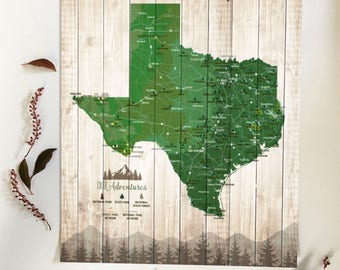 Texas decor, Texas Gifts, Texas parks, Rustic wall art, Park Checklist, Hiking map of Texas, parks and recreation, Push Pin board, TX map