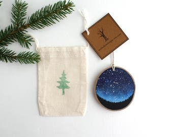 Night Sky Ornament - Hand Painted Christmas Ornament - Woodland Ornament