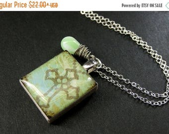 BACK to SCHOOL SALE Cross Necklace. Scrabble Tile Necklace. Christian Charm Necklace with Mint Green Teardrop. Handmade Jewelry.