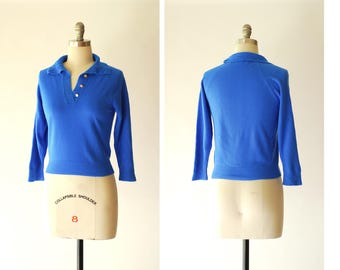 vintage 1950s blue pullover sweater / size small medium
