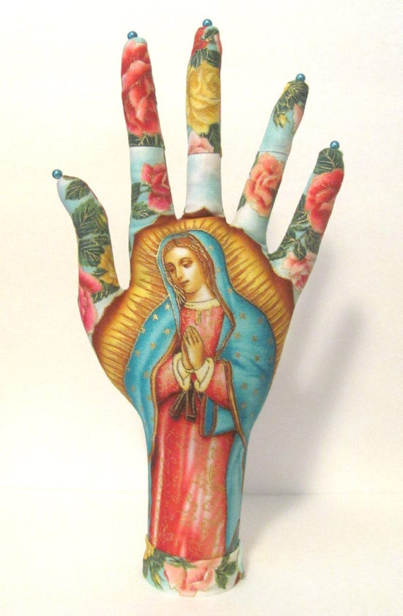 Our Lady Guadalupe Fabric CLASSIC HAND-Stand Jewelry Display Ready to Ship