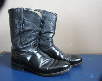 Vintage 1980s / 1990s Black Justin Leather Cowboy Boots US Men's Size (8.5) 8 1/2 D Shoes