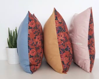 "Floral orange and red square handmade cushion cover 47cm x 47cm/ 18.5"" x 18.5"" in Blue"
