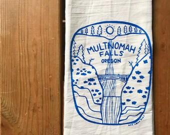 Flour Sack Tea Towel - Multnomah Falls Oregon - Hand Printed Original illustration - waterfall, PNW, nature, outdoors, camping, hiking