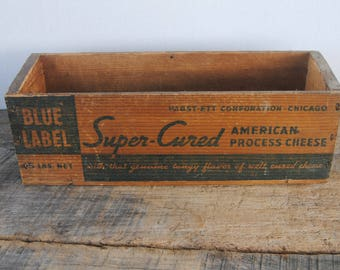 Vintage Wood Cheese Box Pabst - Ett Corporation Chicago Blue Label Super Cured American Process Cheese