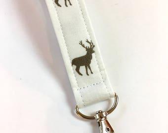 Handmade Deer Keychain, Key Fob, Wristlet Lanyard, Fabric Wristlet, Cream