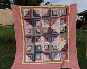 """antique quilt Pennsylvania Log Cabin 1800's pieced textiles Primitive 84"""" x 94"""" rustic cottage chic"""
