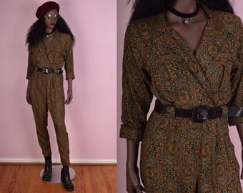 80s Multi Color Jumpsuit/ Small/ 1980s