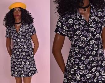 90s Daisy Print Dress/ US 5/ 1990s