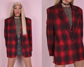 80s Plaid Blazer/ US 16/ 1980s/ Jacket
