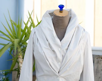 90's White Cotton Shirt - Designer Shirt - Long Sleeves - Puffed Neckline