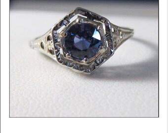 RESERVED --SueK -Antique Art deco 18k Ceylon Sapphire Filigree Engagement Ring