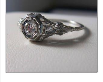 Antique Art Deco 18k .30 Ct. Old European cut Diamond Filigree Hearts Engagement Ring