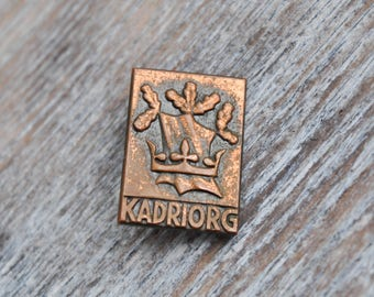 "Vintage Estonian copper badge,pin.""KADRIORG"" USSR era."