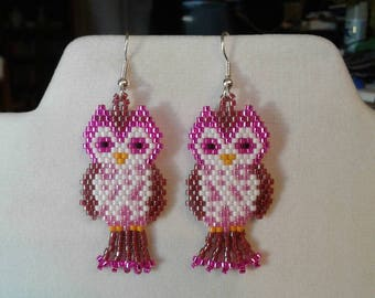 Native American Style Beaded Cute Owl Earrings in Pink and Burgundy Animal Wildlife, Brick Stitch, Peyote, Southwestern, Boho Great Gift
